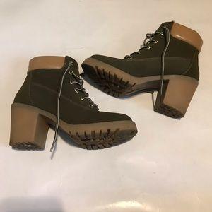 Zigisoho forest green heeled boots